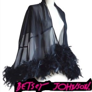 Ostrich Feather Stole Half Cape